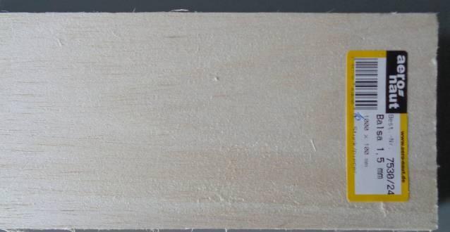 Balsabrettchen 1.5 mm stark, 10 cm breit, 1 m lang, 1 Stück