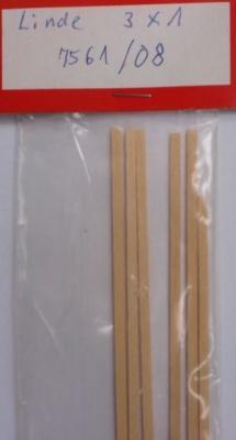 LINDE-Vierkantleisten  1 x 3 mm, 1 m lang, 10 Stück