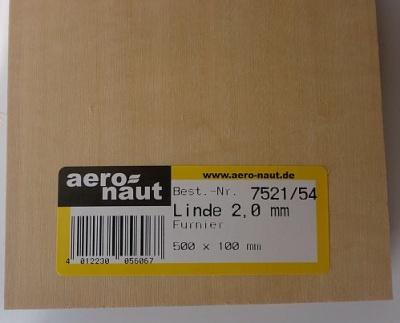 Linde-Furnier  500x100x2,0 mm, 10  Stück