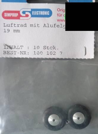 Lufträder m. Alufelge, weich,2 Stück, Au-Ø  19 mm/1xvorr.