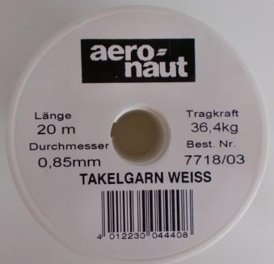 Takelgarn, weiß, Stärke 0,8 mm, Rolle a 20 m