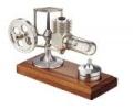 Mini-Stirlingmotor in Aluminuim, montiert  - Heizluftmotor-